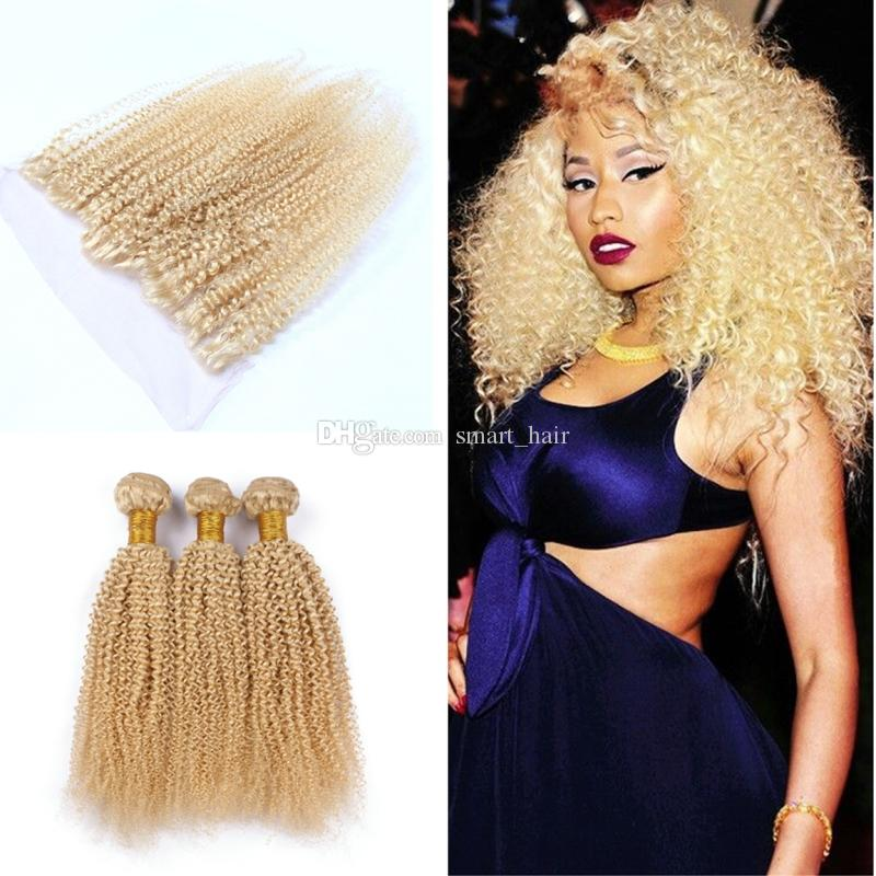 Blench Blonde 613 Kinky Curly Hair Bundles With Lace Frontal Afro Curly Ear To Ear Lace Frontal With Hair Extensions 4Pcs/Lot