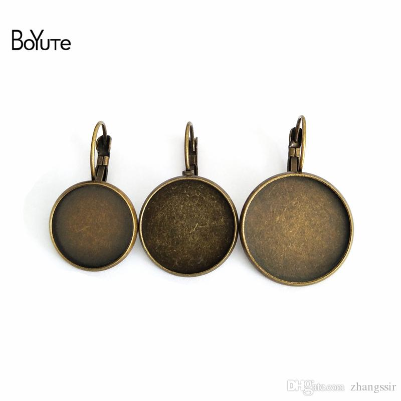 BoYuTe 50Pcs Antique Bronze Round 8 10 12 14 16 18 20 25MM Cabochon Base Setting Clip Earring Blank Tray Diy Jewelry Findings