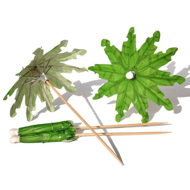 Atacado-frete grátis 20pcs / pack verde coqueiro coquetel varas guarda-chuva escolhe, picaretas de festa, obra de arte palito