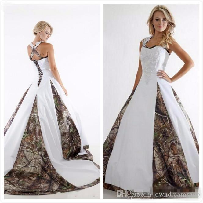 Discount Vintage Lace Stain Country Camo Bridal Wedding Gowns 2017 Boho  Style Criss Crop Custom Make Plus Size Camo Wedding Dresses Cheap Wedding  ...