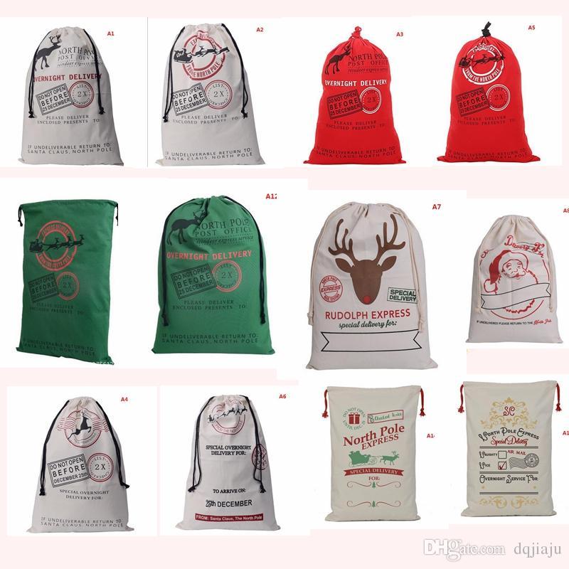 Sacchetto di cordone monogrammable del Babbo Natale della tela di canapa di Natale con le borse monogramma dei regali del calzino di Natale delle renne che spediscono da DHL