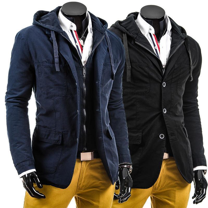 Gros- 2016 Marine Automne Hiver Printemps noir à capuchon court Hommes Manteau solide Casual Coton Veste Homme coupe-vent Livraison gratuite