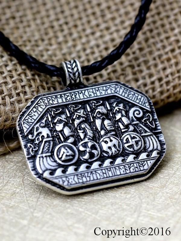All'ingrosso- 1pcs Vichinghi norvegesi Leggendario La nave vichinga e soldato Battlebattlefield Collana pendente Amuleto Viking Talismano nordico
