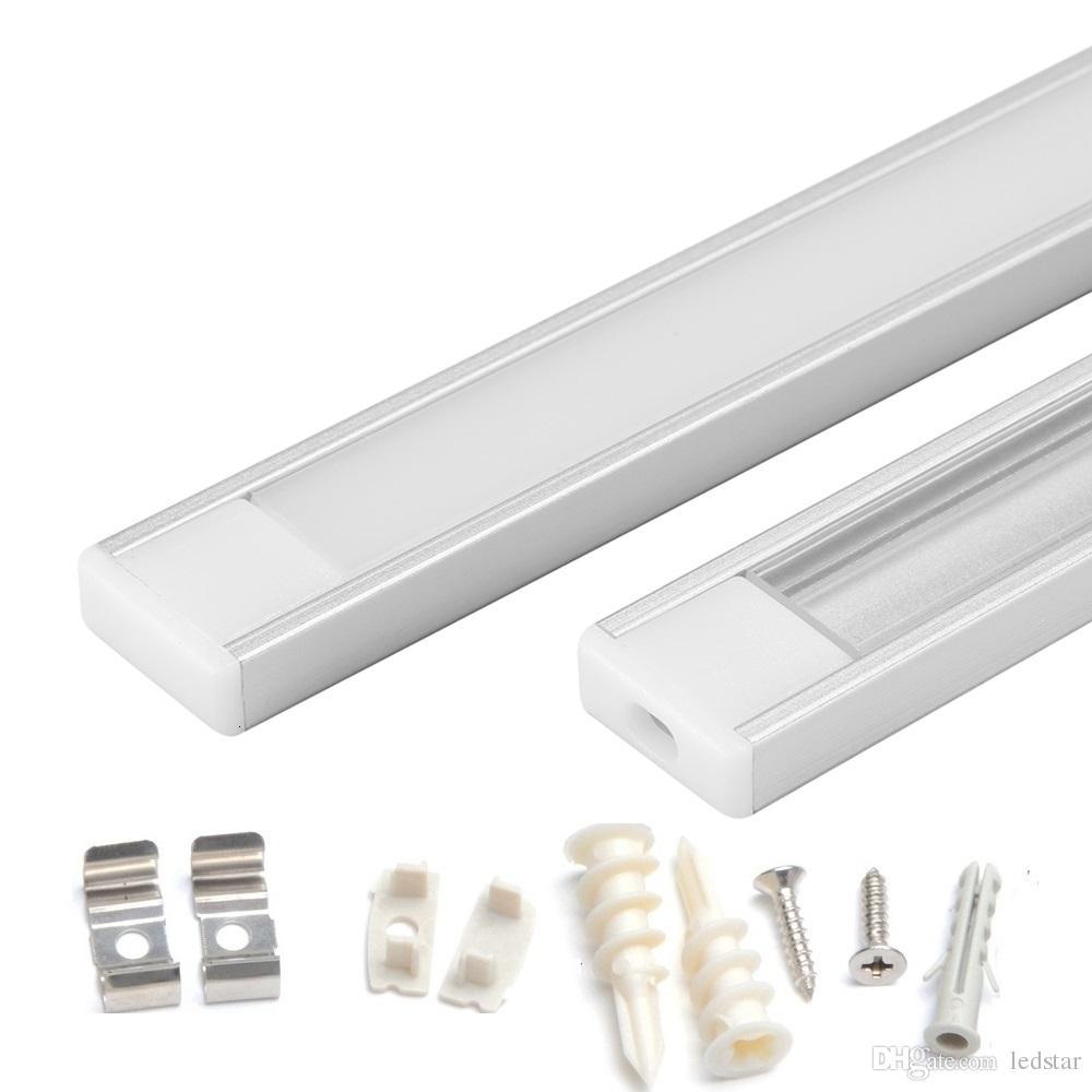 Profilo in alluminio da 1 m 1,5 m 2 m striscia LED per 5050 5630 LED barra rigida barra led barra in alluminio alloggiamento del canale con clip di chiusura