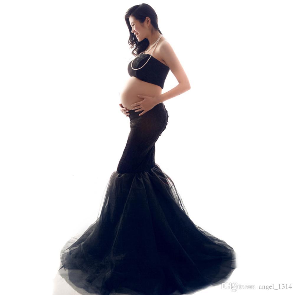 Elegante vestito di maternità Fotografia Puntelli gravidanza vestiti Vestiti di maternità per le donne in stato di gravidanza fotografico Abbigliamento