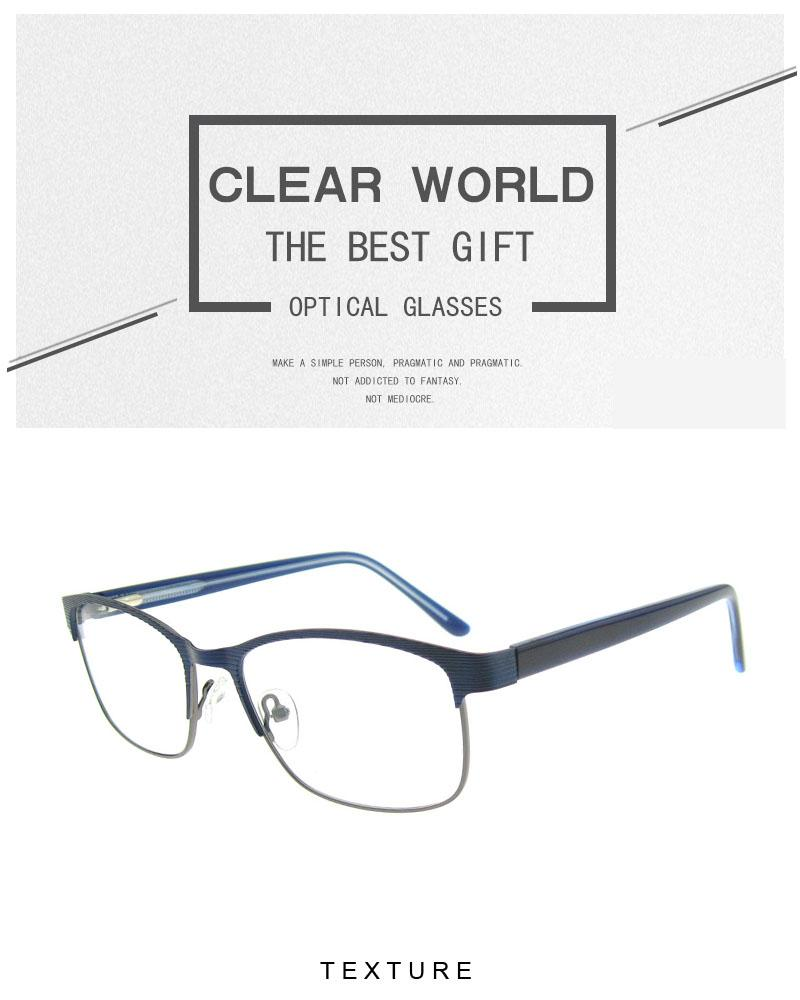 Ultra Fine Light Weight Rectangle Metal Eyeglasses Frame Acetate ...