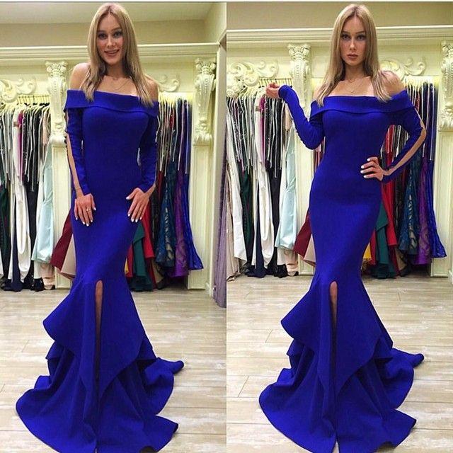 패션 로얄 블루 이브닝 드레스 긴 2019 보트 넥 슬릿 전면 맞춤 제작 긴팔 인어 정식 무도회 드레스 드레스