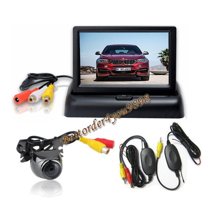 """4.3 """"TFT LCD Faltbarer Monitor Rückansicht Kit + Wireless Metall Umkehrung Parkkamera Warterfest"""