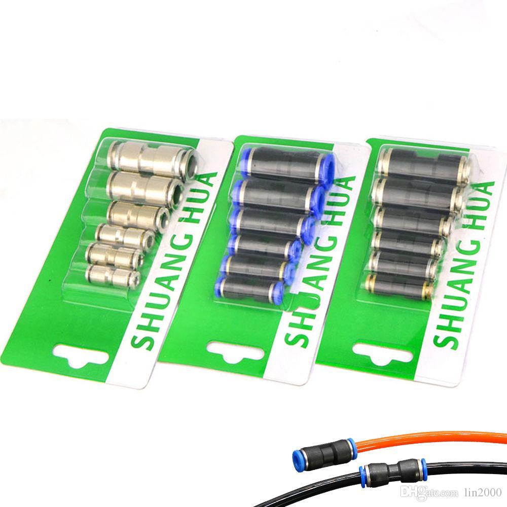 Tubo de manguera de compresor de aire de 3 paquetes Conectores de empuje neumáticos rectos Conexiones rápidas