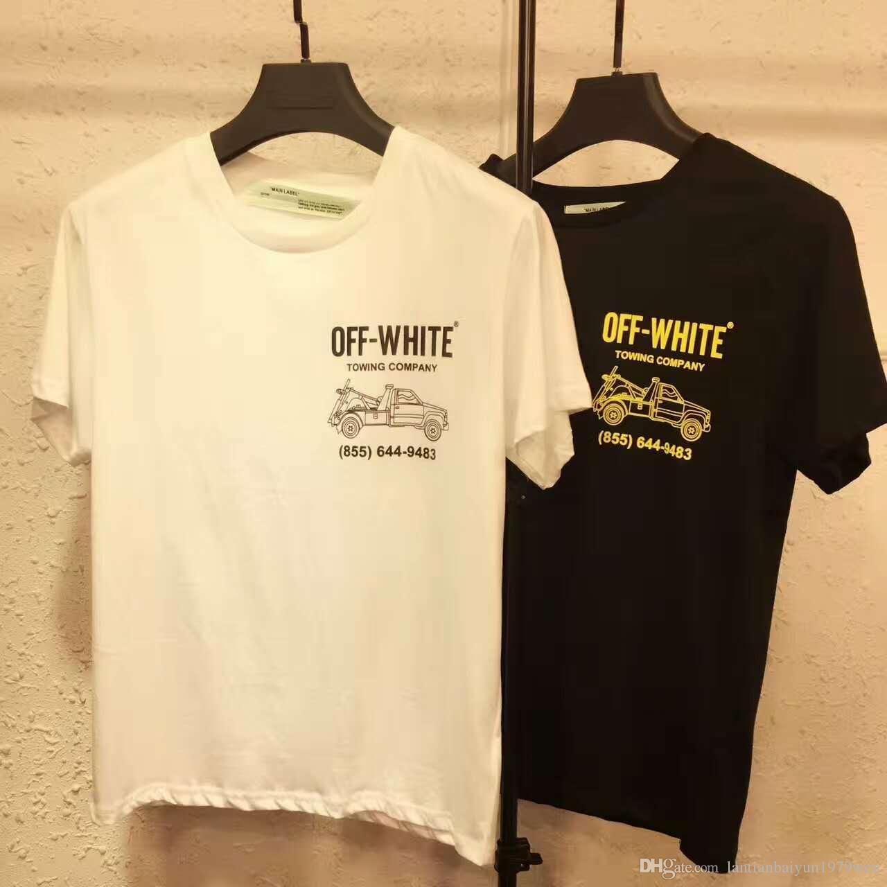 Best quality black t shirt -  Best Quality 2017ss Off White Collaboration Men Hip Hop Casual T Shirt Short Sleeve T