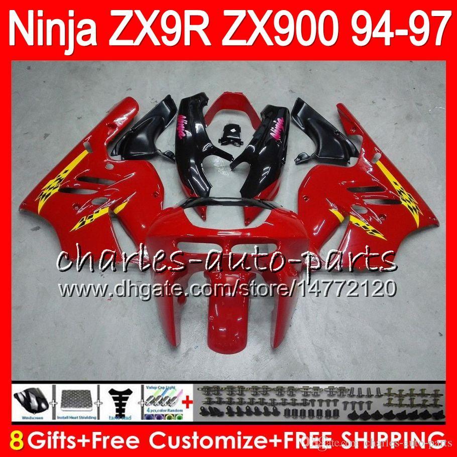 8Gifts 23colors för Kawasaki Ninja ZX900 ZX9R 94 95 96 97 900cc Glansig röd 49HM14 ZX-9R ZX900C ZX 9 R ZX 9R 1994 1995 1996 Fairing Kit
