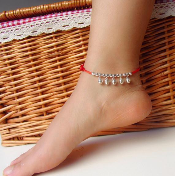 National Style Jewelry Original handgemachte tibetische silberne rote Seil Fußkette
