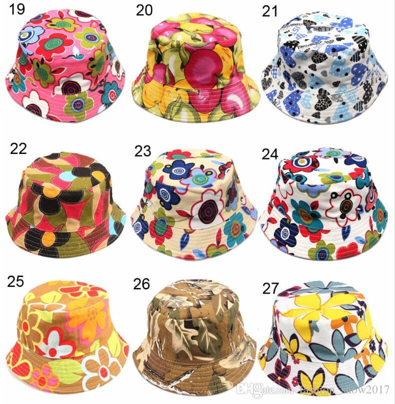 New 36 Models Children's Bucket Hats New Fashion Print Summer Sun Hat Colorful Patch Flat Caps