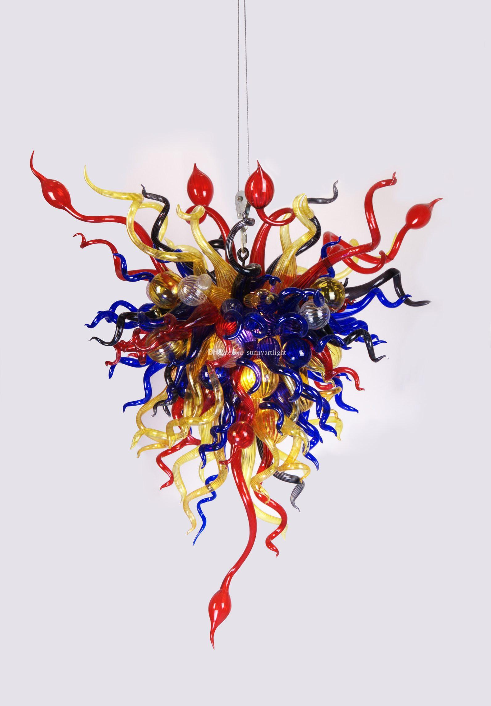 Handicrafts Dining Chandelier Lighting 110-240v AC LED Customized Style New Restaurant Lamp Multi Colored Glass Pipes