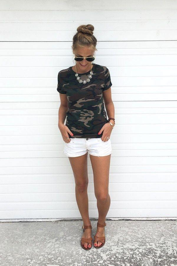 T-shirt Femme Blusa Tumblr Camouflage Impression Tops T Shirt T-shirt T-shirt Militaire Casual Top Top Top