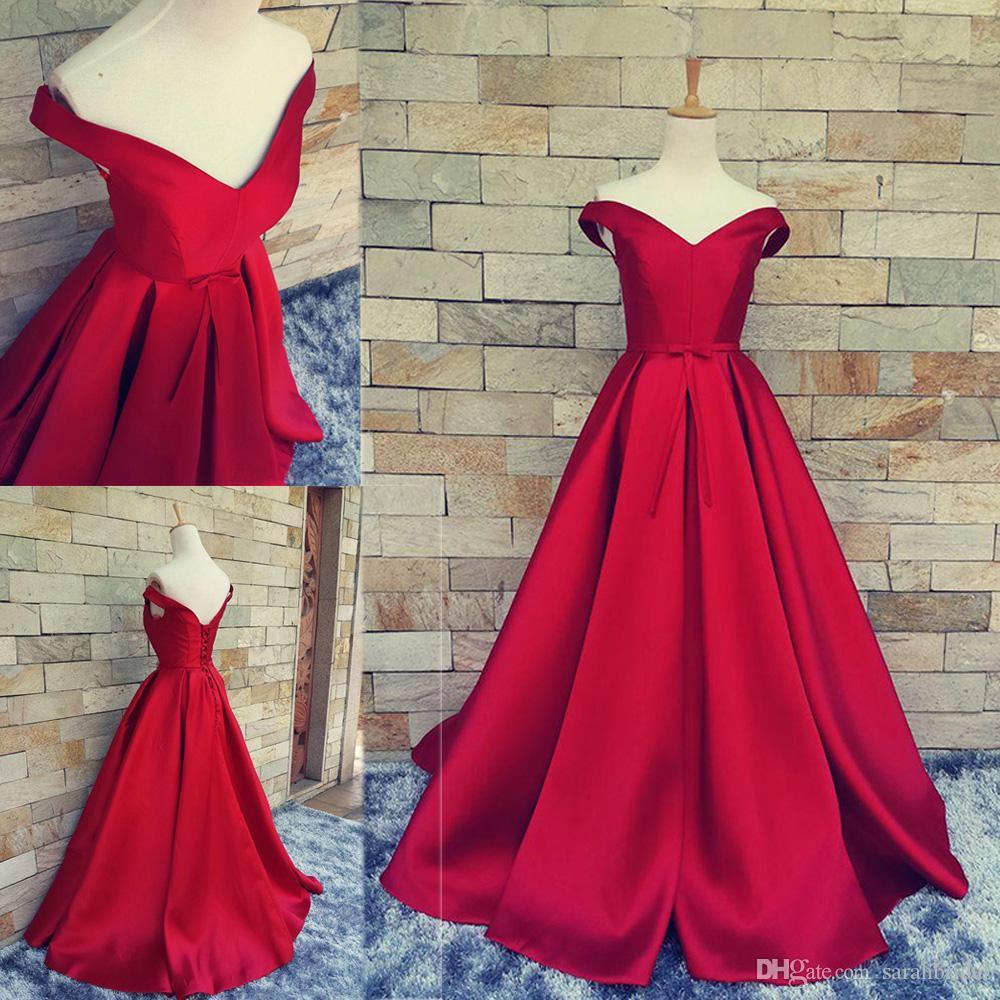 2019 abiti da sera rossi a-line per le donne formali arabe scollo a V Celebrità occasione vendita economici lungo raso a maniche lunghe abito da promenade del partito XG