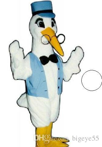 Custom white crane mascot costume free shipping