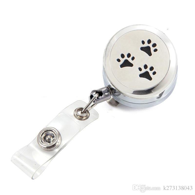 2017 New Silver Pet Paws Perfume Locket Metal Retractable Badge Reel Key 30MM ID Card Clip Ring Lanyard Name Tag Card Holder Free Pads
