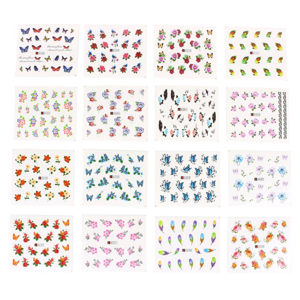 Toptan-50 Levha / Set 5 * 6.5cm Karışık Çiçek Su Transferi Tırnak Etiketler Çıkartmaları Sanat İpuçları Dekorasyon Manikür Çıkartma Ongles