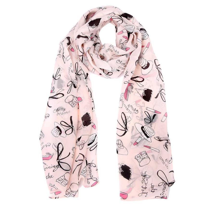 Wholesale- Großhandel Chiffon-Schal Kleidung Accessoires Lippenstift Druck Frauen-Strand-Tücher Und ScarvesPonchos Und Capes # 2913
