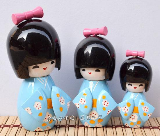 Bambola giapponese ornamenti bambola gioielli carino bambola giapponese cartone animato regalo decorativo blu tre pezzi