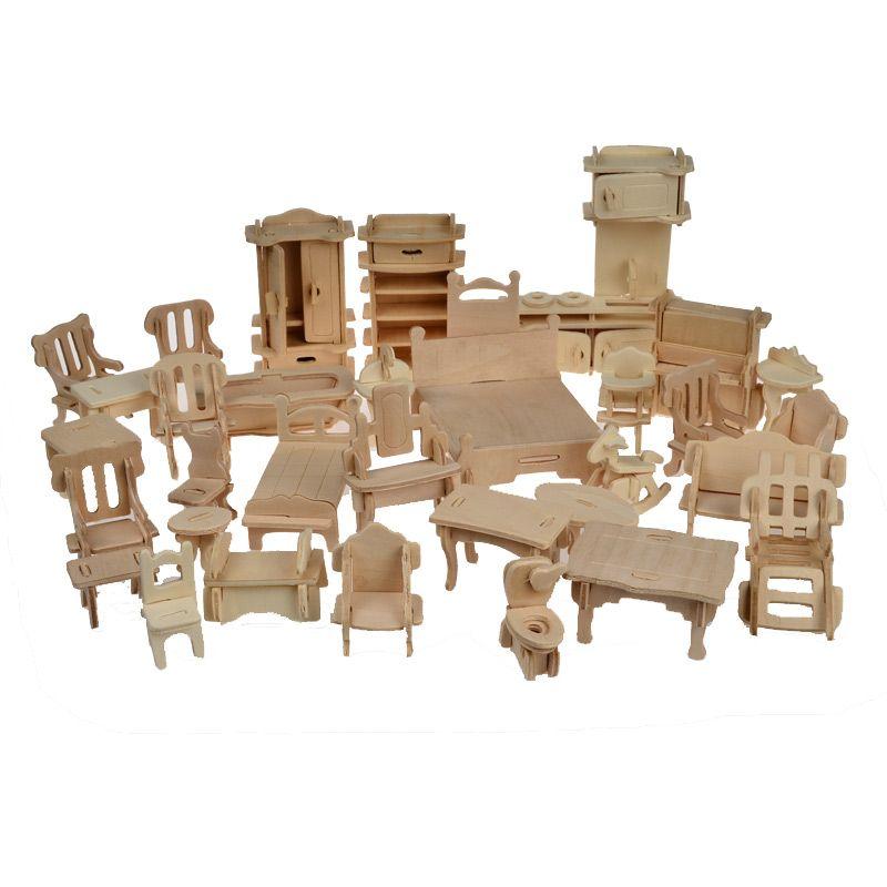 1 SET = 34 PCS, casa de bonecas de madeira casa de bonecas móveis Jigsaw Puzzle Scale modelos em miniatura DIY acessórios Set