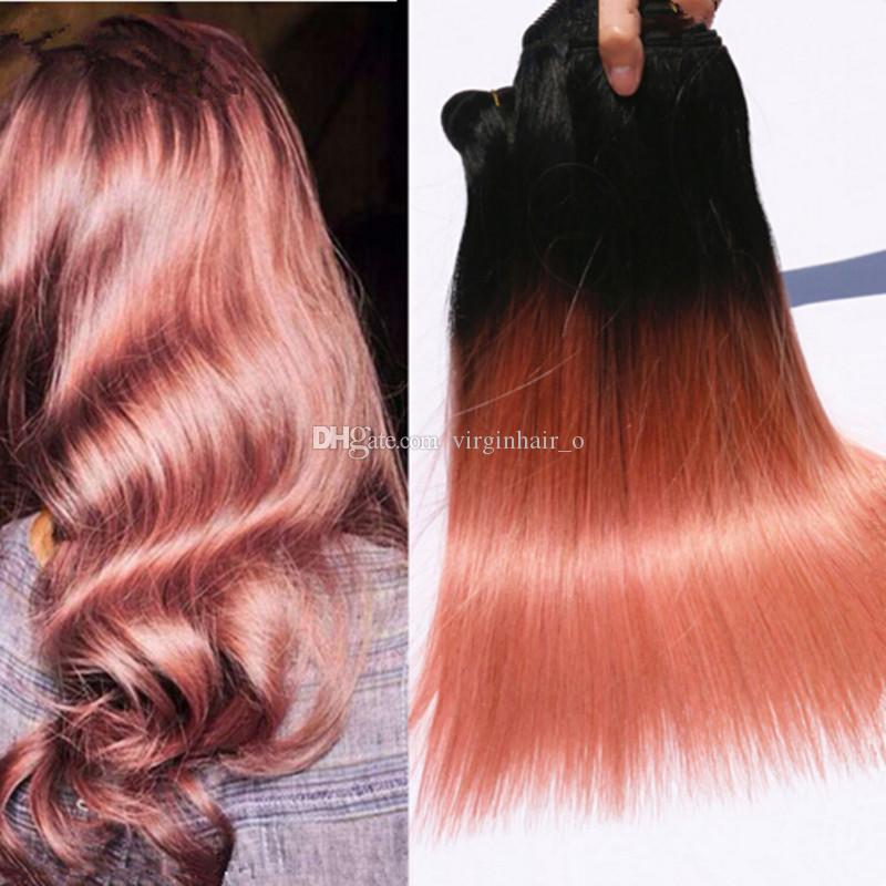 3Pcs Rose Gold Ombre Brazilian Hair Silky Straight 9A Two Tone Ombre Pink Human Hair Weave Bundles,Pink Brazilian Ombre Hair Extensions