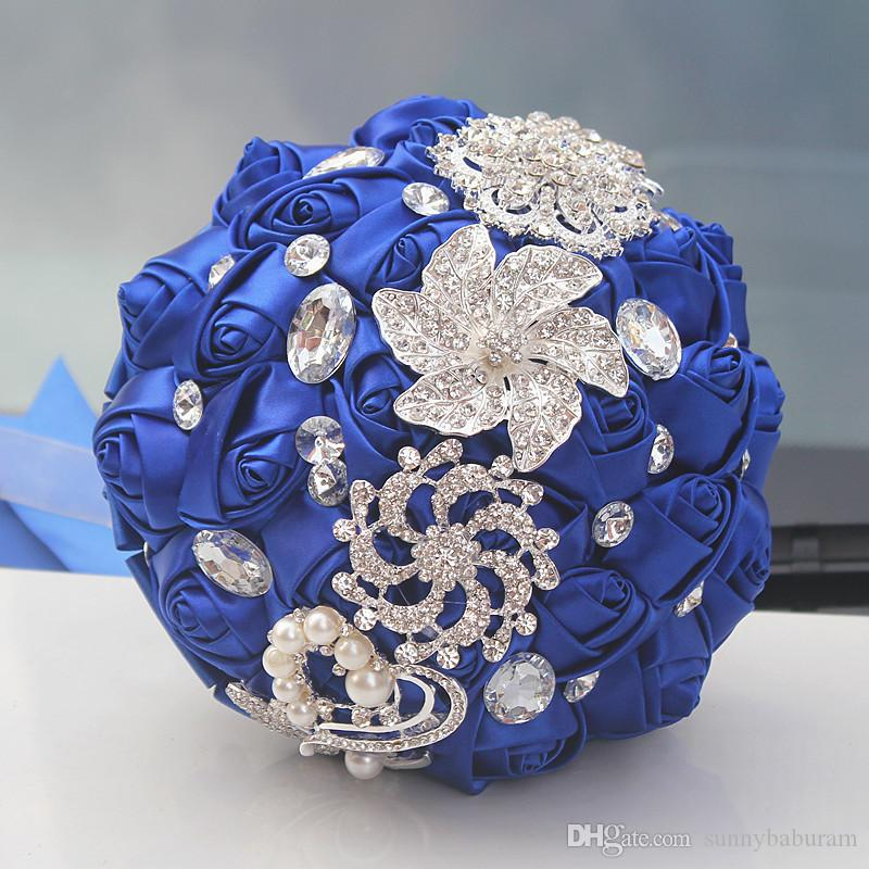 Royal Wedding Bouquets Rose Artificial Sweet 15 Quinceanera Bouquet Crystal Silk Ribbon New Buque De Noiva 37 Colors W228-D Free Shipping