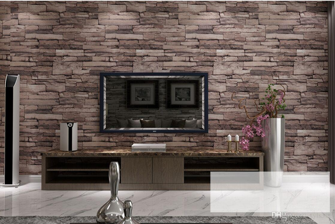 New 3D Luxury Wood Blocks Effect Brown Stone Brick 10M Vinyl