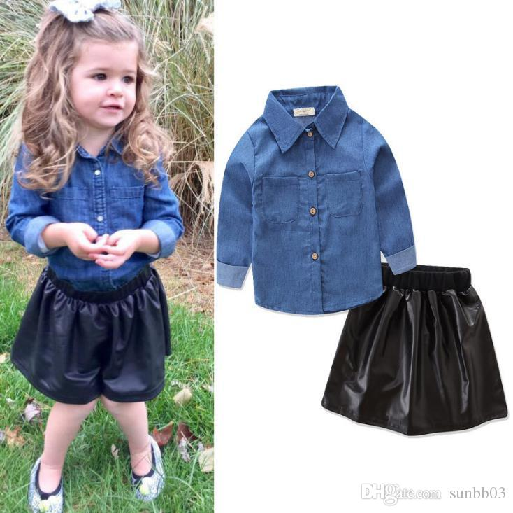 Ins Baby Girls Clothes Set Kids Denim Shirt + PU Leather Skirt 2pcs Clothing Suit Children Outfits 13534
