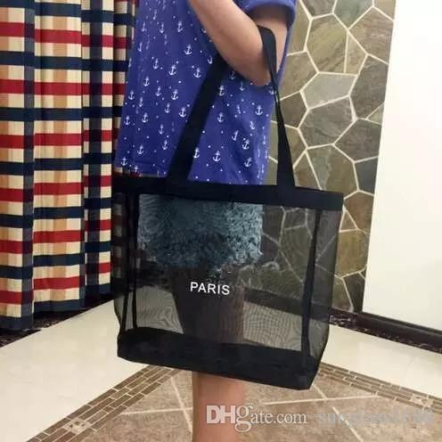 HOT! Logotipo clássico branco saco de malha de compras de luxo padrão saco de viagem mulheres lavagem saco de armazenamento de maquiagem cosméticos malha caso