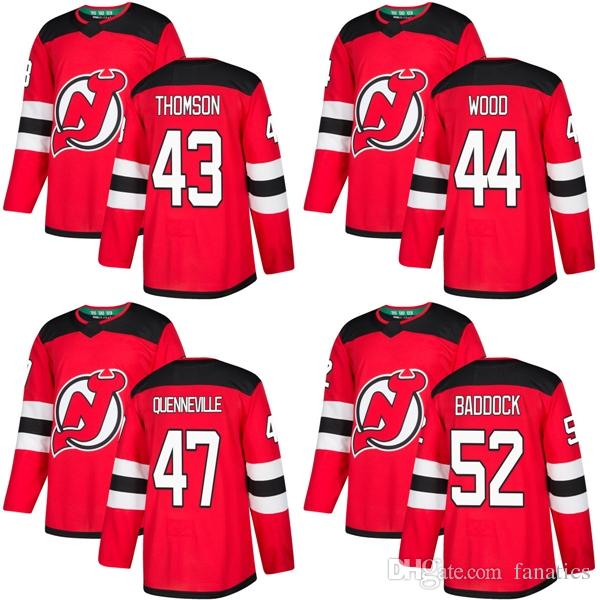 2018 2018 2017 New Brand Men New Jersey Devils 43 Ben Thomson 44 Miles Wood  47 John Quenneville Brandon Baddock Red Custom Hockey Jerseys From