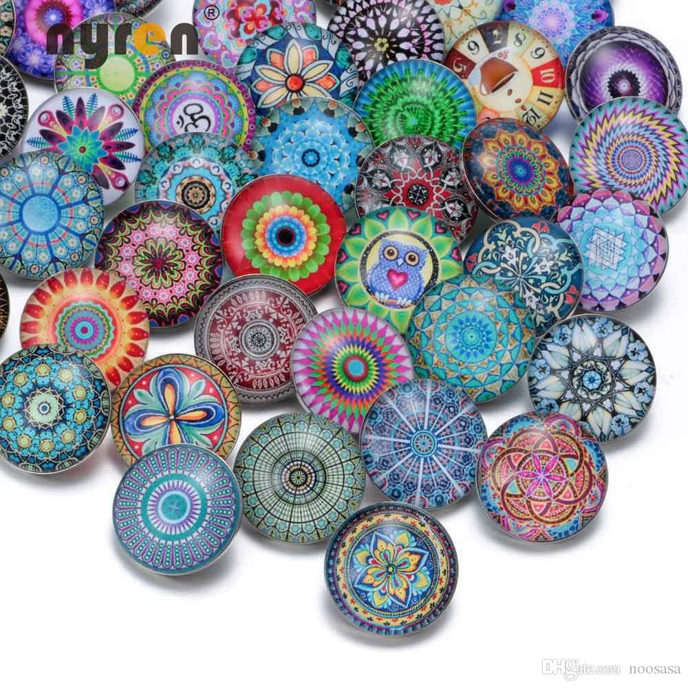 50pcs/lot Fashion Mixed Colors Exotic Series 18mm Glass Snap Button Jewelry Fit Snap Bracelet Jewelry