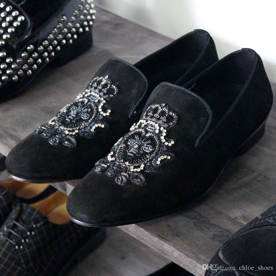 أعلى جودة جلد طبيعي المخملية متعطل أحذية رجالية الديكور الاخفاف الكريستال كعب مسطح تنفس الصيف الربيع عارضة الأحذية
