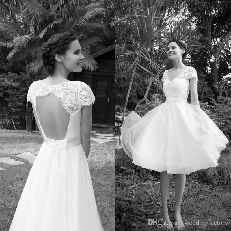 Discount Spring Country Knee Length Wedding Dresses Short Beach V Neck Sheer Lace Capped Sleeves Sexy Open Back Cheap Bridal Gowns With Sash Bow