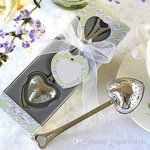 Heart Design Spoon Tea Infuser Filter Wedding Bridal Shower Favor Gift Funky New Heart-Shaped Stainless Chain Herbal Filte