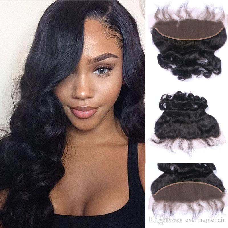 Loose Wave Hair Frontal Closure 13x4 Ear to Ear Lace Frontal Closure With Bleached Knots Natural Color 1B Human Remy Hair Extensions