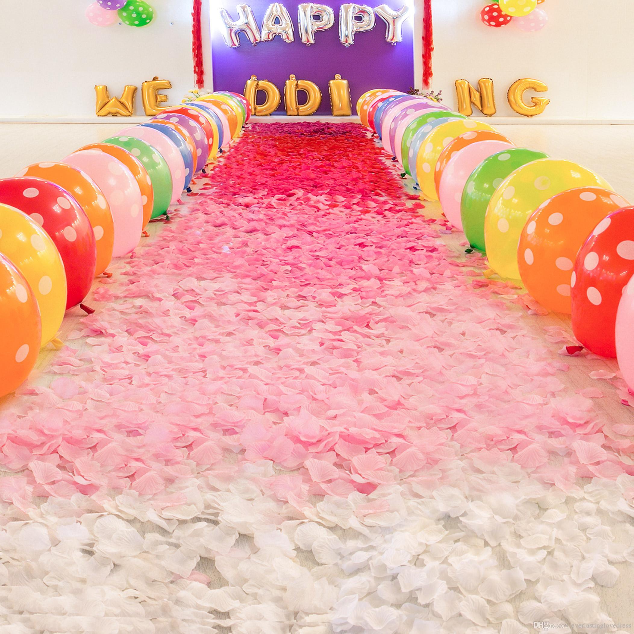 1000 pçs / lote Moda Flores de Poliéster Atificial para Romântico Decorações De Casamento Seda Rose Pétalas Patal Flores Do Casamento