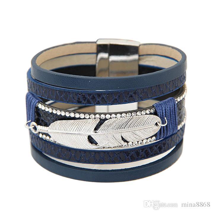 Böhmische Retro Rhinestone Legierung Feder Multilayer Leder Armband Boho Magnetic Quaste Armband Frauen Wrap Charm Armbänder Armreif Männer