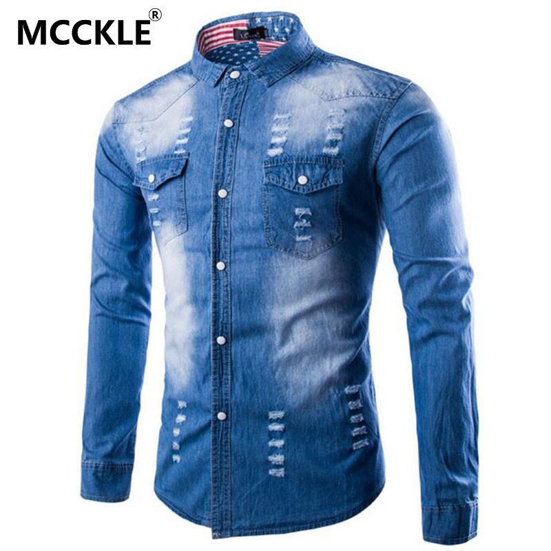 الجملة-أزياء رجالي ممزق الدينيم قمصان طويلة الأكمام رفض طوق الذكور يتأهل المتعثرة جينز قميص أزرق camisas الغمد Q2342