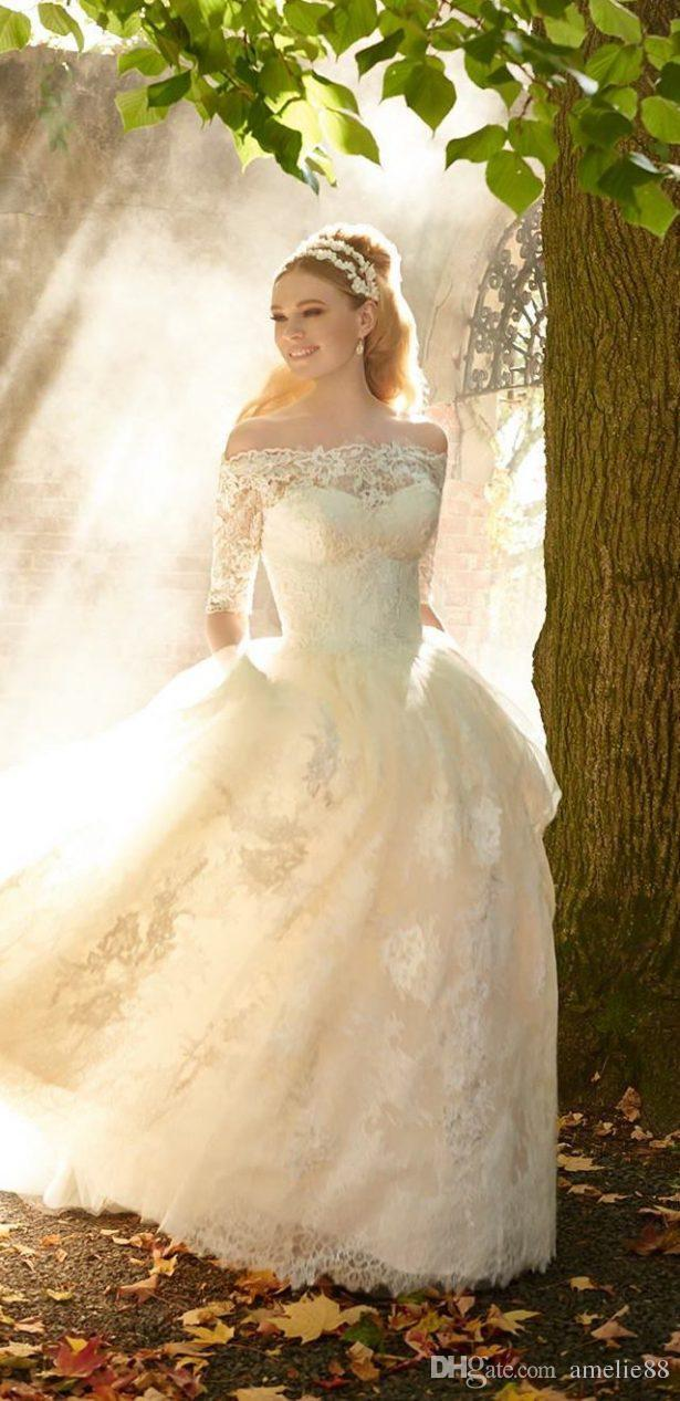 2017 Victorian Wedding Dresses Lace Off The Shoulder Sleeve Ball ...