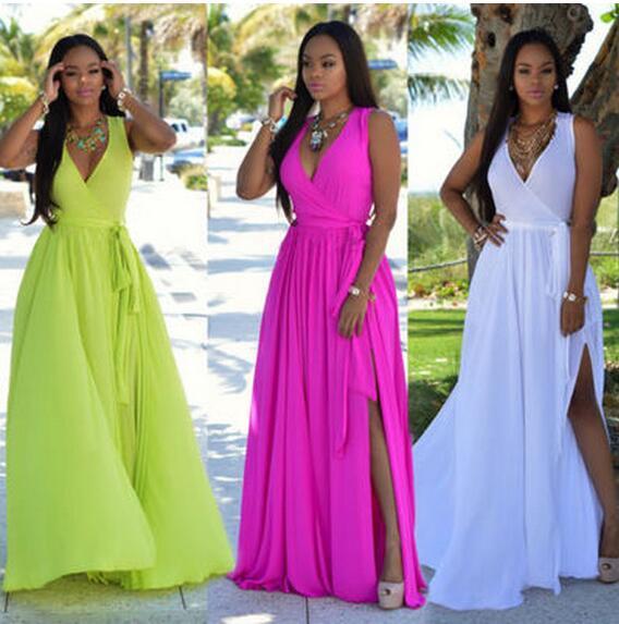 2017 여름 새로운 여성 맥시 드레스 패션 쉬폰 스카프 드레스 브이 넥 민소매 분할 랩 드레스 보헤미안 비치 Sundresses