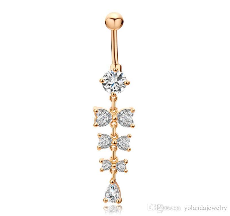 Anillos de ombligo dulce Brillo Cristal Bowknot Piercing Botting Botton Anillos para las mujeres Piercing de cuerpo 18k Joyas de moda de ombligo de oro amarillo