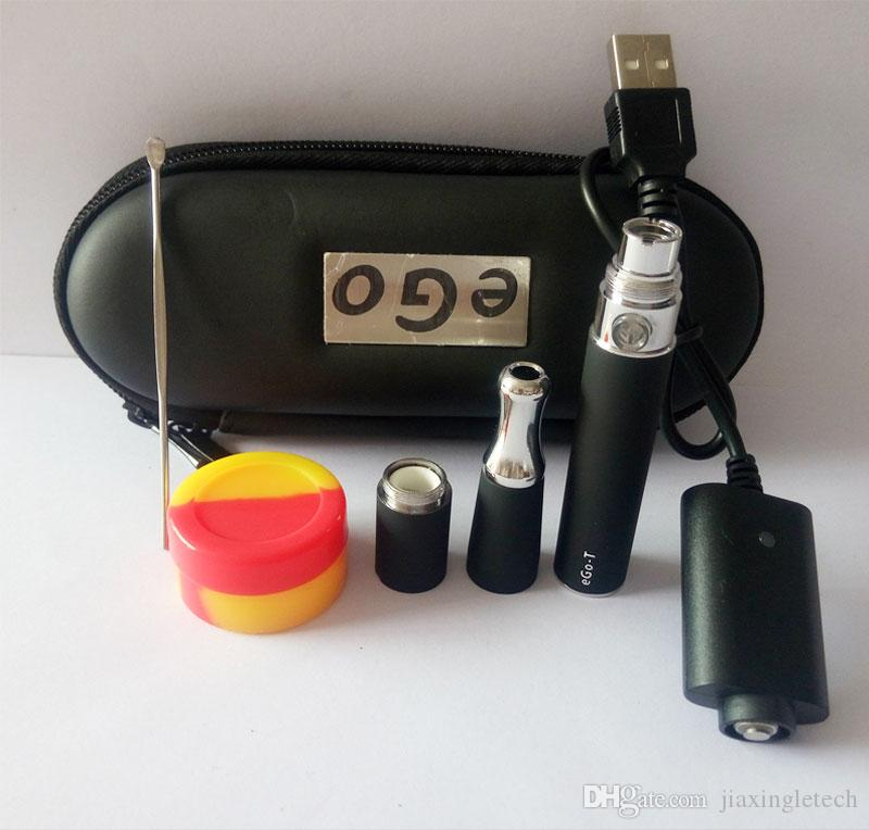 Skillet Vaporizer Pen Starter Kits Include Skillet Ego D Wax Atomizer Dual Quartz Coil Dry Herb E Cigarette Ego T battery Zipper case