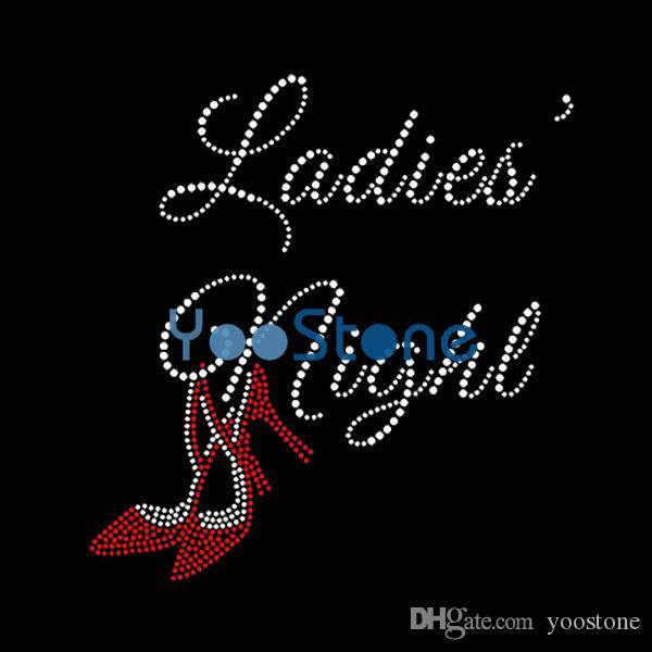 Damen Nacht High Heel Strass Aufbügeln Transfers Hot Fix Motiv für Frauen T-Shirt