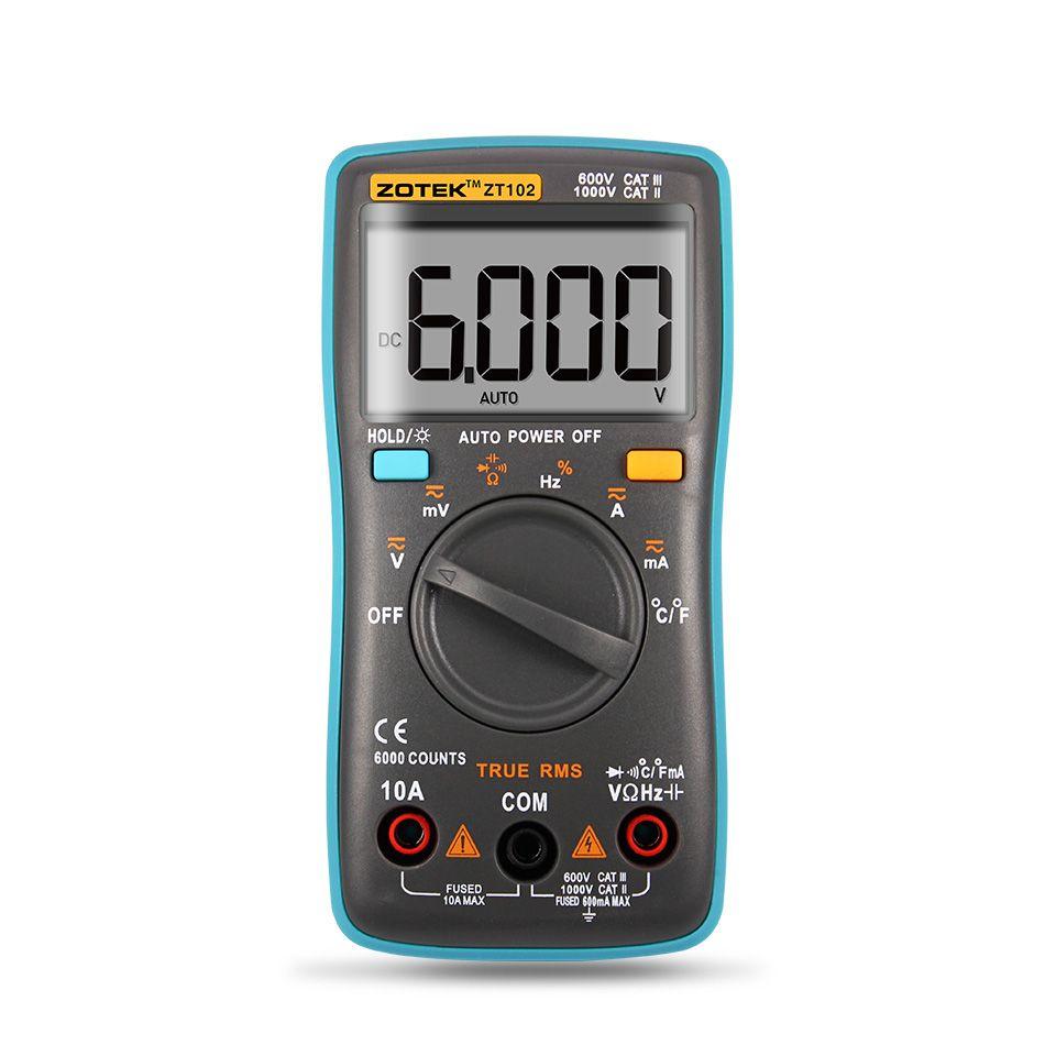 Zotek ZT102 Multimetro digitale 6000 conteggi luce posteriore AC / DC Ammeter Ammeter Voltmetro Ohm Frequency Diodo Temperatura