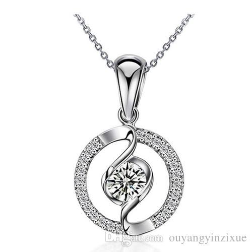 Женская мода стерлингового серебра 925 высокий польский Круг жизни кулон ожерелье танцы цирконий кулон ожерелье