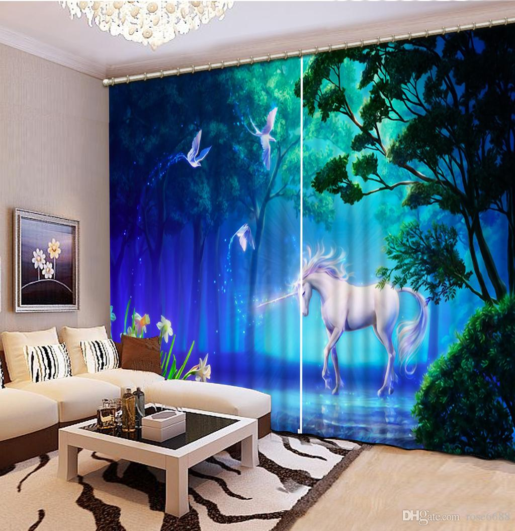 Fashion 3d Home Decor Beautiful Home Decor Living Room Natural Art Modern Living Room Curtains Blue