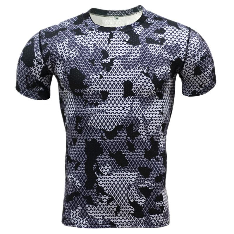 Commercio all'ingrosso- Camicia Casual Camouflage Compressione estiva 2016 Fitness Uomo manica corta Calzamaglia Bodybuilding Crossfit Flash Camo T-Shirt