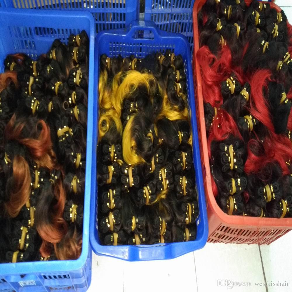 20pcs/lot Wholesale Soft Ombre Hair Weave Brazilian Body Wave Red blonde Colors two tones